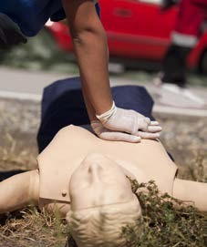 two-handed chest compressions